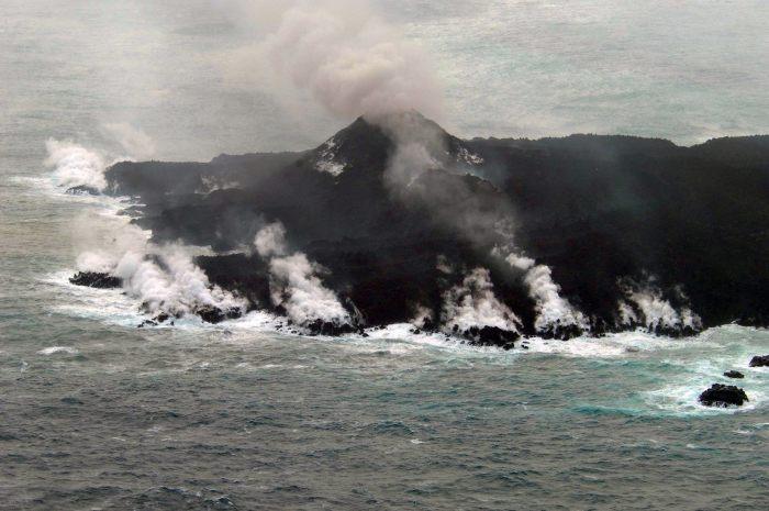 The main cone of Nishinoshima Volcano. Japanese Coast Guard photography.