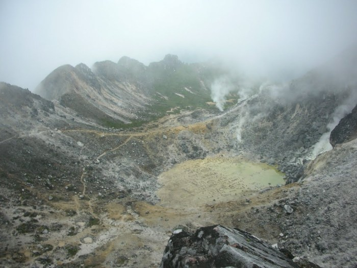 The interier of the compound caldera of Mount Sibayak. Photograph by Eddharj.