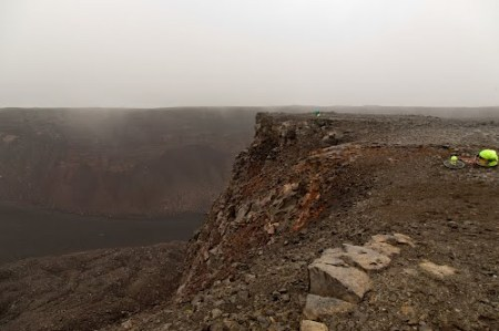 View down the large square shaped crater of Urdarhals.