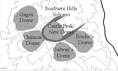 Map of the Soufrière Hills volcano showing the old domes   (Credit British Geological Society)