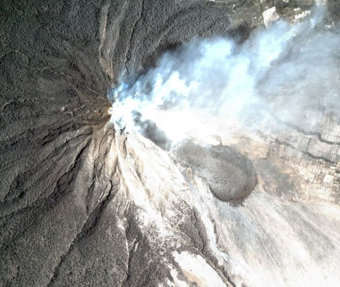 Treated satellite imagery showing the extensive pyroclastic flow area and the lava lobe. Image from Centre for Remote Imaging, Sensing and Processing (CRISP)