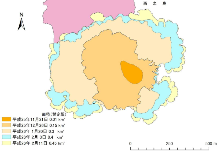 Map showing the progression of the island growth. Image by Japanese Coast Guard.