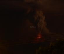 The eruption of Tungurahua as night is starting.