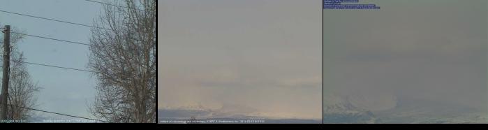 Figure 1. Three webcam views of Shiveluch volcano on March 18, 2014. A – 04:15 UTC from Shiv1 - http://data.emsd.iks.ru/videokry/svl.jpg; B – 04:16 UTC from Shiv2 - http://volcano.febras.net/archive/latest_She2.jpg; C – 04:14 UTC from Shiv3 - http://volcano.febras.net/archive/latest_She.jpg