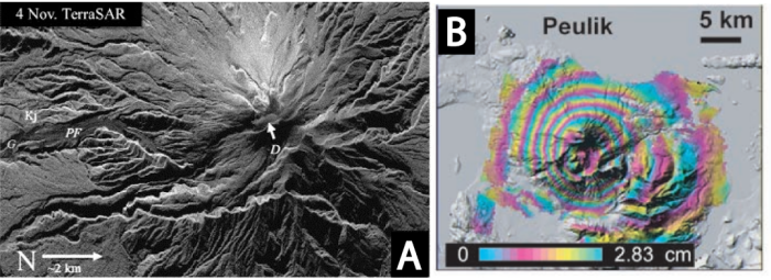 Figure 6. Merapi TerraSAR imagery from November 4, 2010, where is highlighted as the dome, adapted from Pallister et al. (2010). Also B - InSAR image (1996 to 1997) showing approximately 17 cm of episodic uplift of Peulik Volcano, adapted from Lu (2002; 2007)