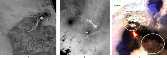 Figure 1. A – ASTER TIR data from Shiveluch volcano on March 4, 2014; B – LANDSAT-8 data from Pacaya volcano on March 3, 2014 at 04:40 UTC; and C – NASA ALI data from Pavlof volcano on May 18, 2013.