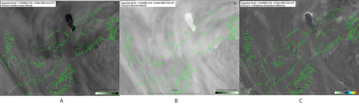 Figure 3. Volcanic ash cloud from event 5 on March 23, 2009. Satellite data from NOAA AVHRR at 13:25 UTC: (A) 3.7 μm channel, (B) 10.6 μm channel, and (C) BTD data. Volcano location highlighted by red star; adapted from Webley et al. (2013).