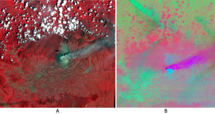 Figure 4. ASTER data collected on February 10, 2014 at 03:56 UTC. A - RGB view of Visible/Near-Infrared channels 3, 2 and 1. Also a decorrelation stretch, B, that used TIR bands 14, 12, and 10. Here the purple/red colors represent ash dispersing off to the east.