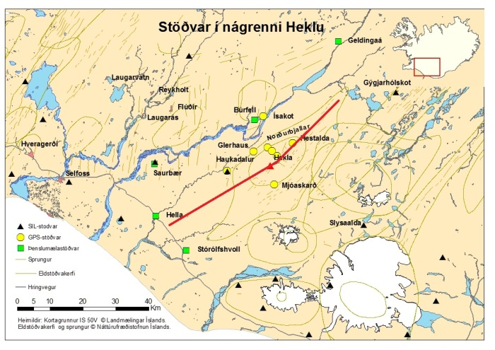 Map from Icelandic Met Office. Red line is the rough direction and shape of the Hekla Volcanic Fissure. Note that fissure eruptions has occured throughout this line.