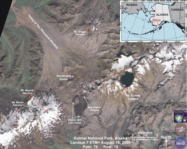 Trident Volcano (center)  http://www.avo.alaska.edu/volcanoes/volcinfo.php?volcname=Trident