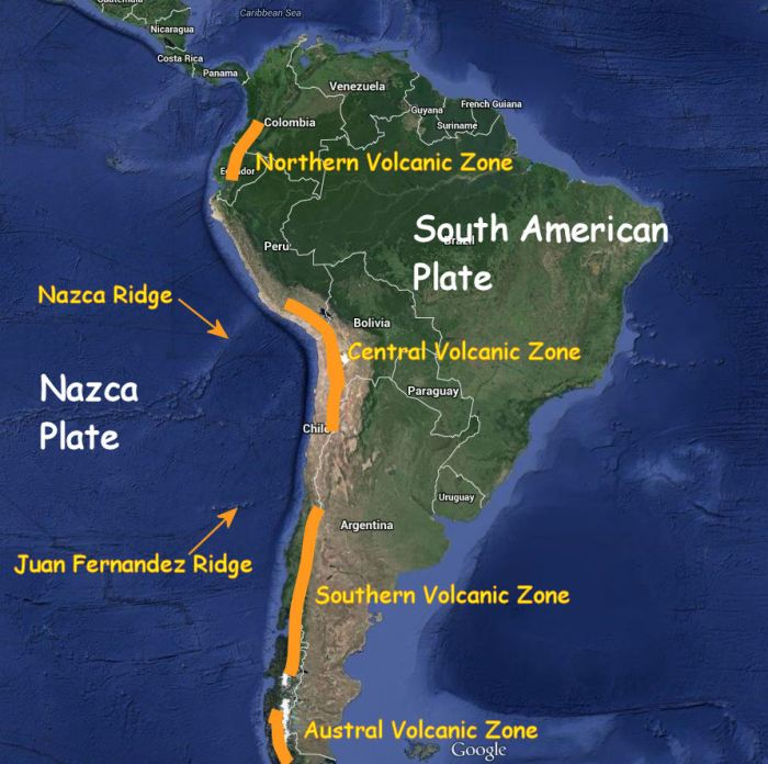 Fig 6:  Tectonic setting showing the plates and approximate locations of the South American Volcanic Zones.  Source:  Google Earth with text added by the author.