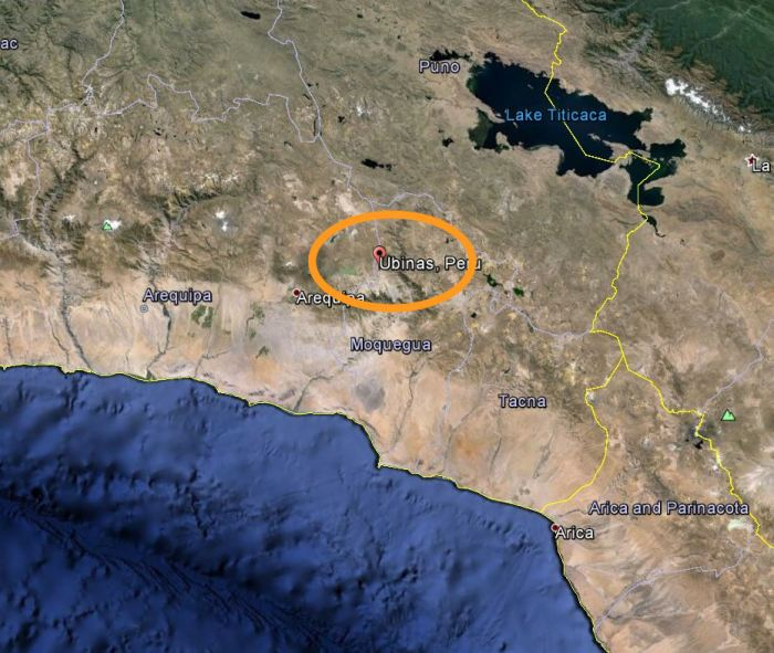 Fig 7:  Location of Ubinas in the Central Volcanic Zone.  Source: Google Maps.  You can also see a section of the Peru-Chile trench in the lower left hand part of the image.