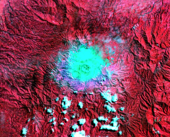 Fig 2: Satellite image of Mount Dukono 2001/08/21.   Reproduced with kind permission from Geological Survey of Japan, AIST,2014,  Image Database for Volcanoes, https://gbank.gsj.jp/vsidb/image/index-E.html