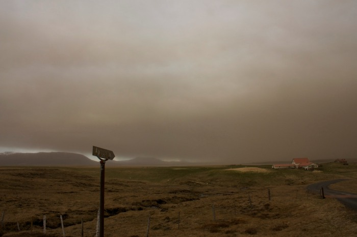 Icelandic landscape under the ash cloud in 2011. Photograph by Matt Riggott taken from Wikimedia Commons.