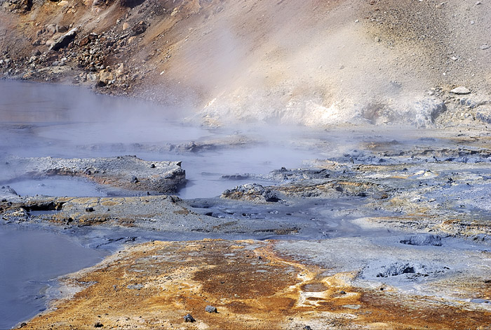 This photograph by Skarphéðinn Þráinsson shows the Seltún hydrothermal field at Krýsúvik volcano.