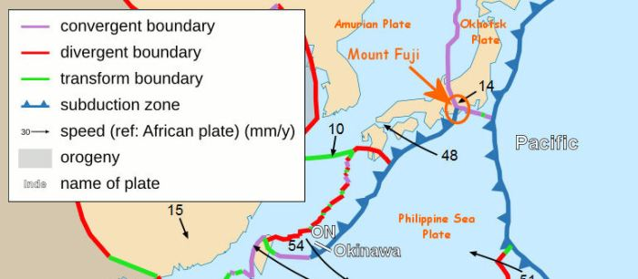 Fig 4: Map of tectonic plates from a detailed map showing the tectonic plates with their movement vectors near the Philippines published under Wiki Common.  Source: http://en.m.wikipedia.org/wiki/File:Philippine_Sea_Plate_br.JPG