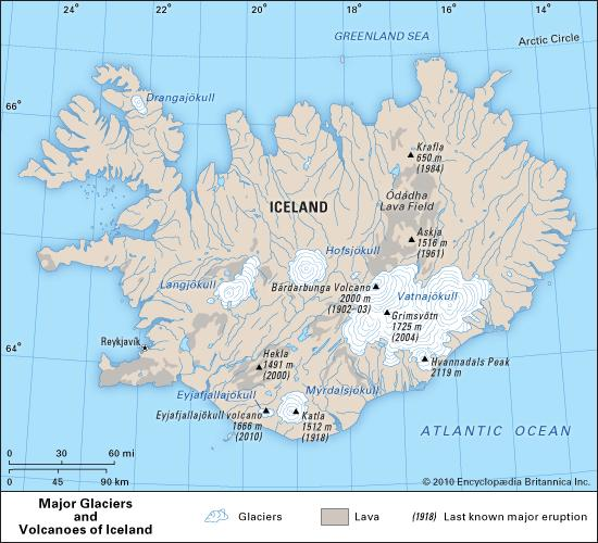 Major lava fields of Iceland and the Odadhahraun lava field surrounding Askja. Image from Encyclopedia Britannica.