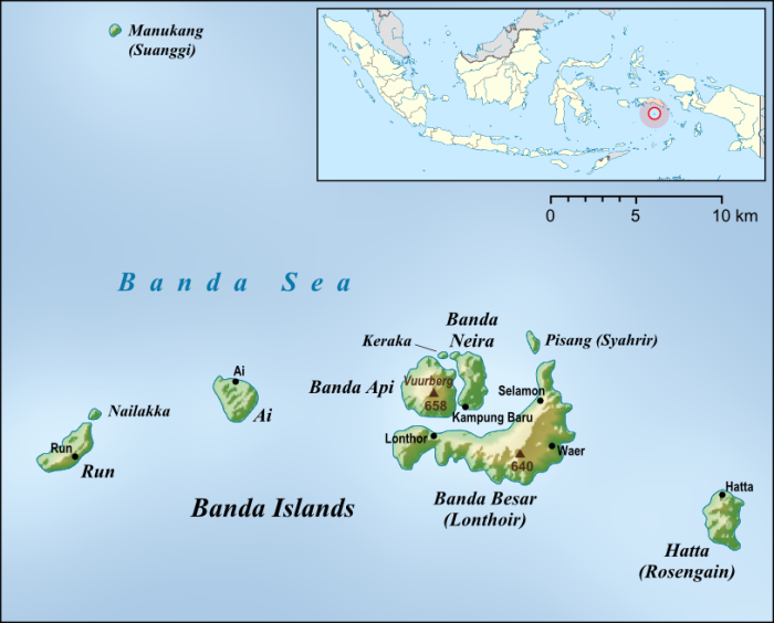 Fig 5;  Map of the Banda Islands by Lencer, published under the Creative Commons Attribution-Share Alike 3.0 Unported license.  Source: http://upload.wikimedia.org/wikipedia/commons/5/5c/Banda_Islands_en.png