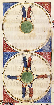 Illustration of the spherical earth in a medieval manuscript. The figure shows two men walking around the spherical earth, one going to the East and the other to the West, and meeting on the opposite side. 14th century copy of a 12th century original by Gossuin de Metz - L'image du monde.