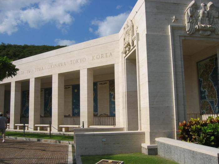 The memorial contains a small chapel and tribute to the various battles fought in the Pacific. Image by Jiang (Wikipedia, Public domain).