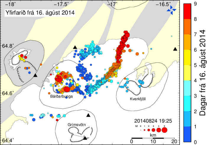 Image from Icelandic Met Office. Corrected earthquake seismicity plot from onset of the swarm showing the collapsing caldera and the propagating intrusion.
