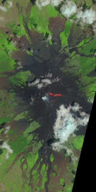 Lava flow on Etna. Landsat image (NASA) from August 1, 2014. http://earthexplorer.usgs.gov/