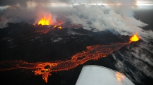 Image of the Holuhraun eruption taken by the Volcanocafé Productions Film expedition to Bárdarbunga. This image is from the upcoming film by Eggert Norddahl, Bergsveinn Norddahl and Nick Small. Produced by Volcanocafé.