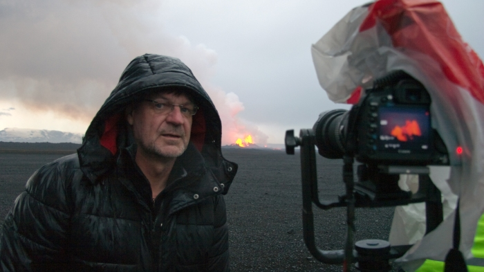 Tired, wet and happy. The Man himself at Holuhraun. Behind the scenes shot from the movie. Copyright by Eggert Norddahl and Volcanocafé Productions.