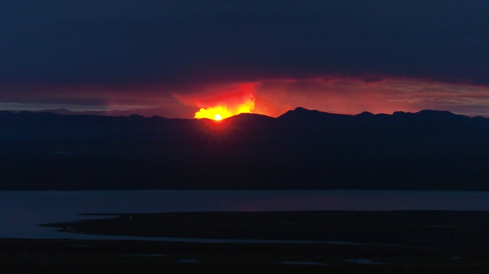 Holuhraun eruption at a distance. Photograph copyright by Eggert Norðdahl and Volcanocafé Productions.