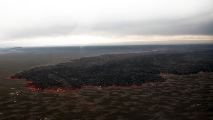 Image of the Holuhraun lava field taken by the Volcanocafé Productions Film expedition to Bárdarbunga. This image is from the upcoming film by Eggert Norddahl, Bergsveinn Norddahl and Nick Small. Produced by Volcanocafé.