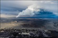 Holuhraun eruption looking north from Dyngjujökull (Photograph by Einar Gudmann)