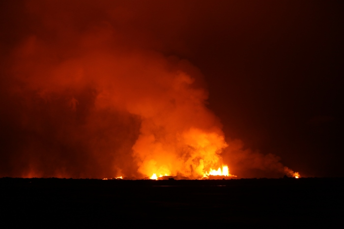 Fire Fountains at Holuhraun by night. Photograph by Eggert Norddahl. Copyright by Volcanocafé Productios.