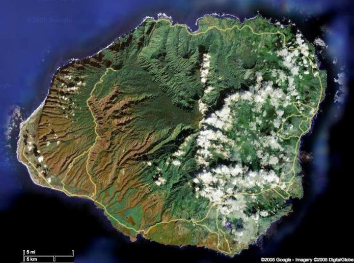 Lihue Depression is under the eastern cloud layer.