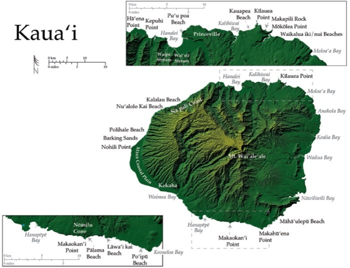 Relief map of Kauai