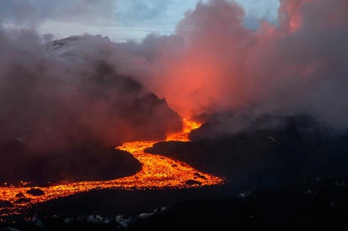 Tolbachik eruption in december 2012.
