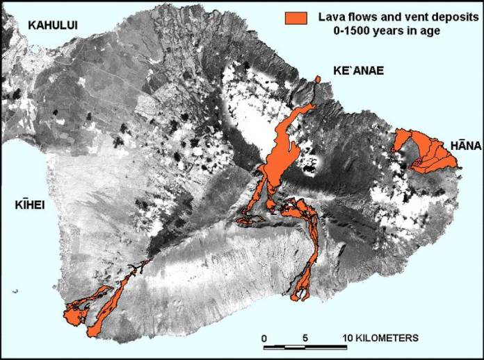 Map of Young Lava Flows on Haleakala
