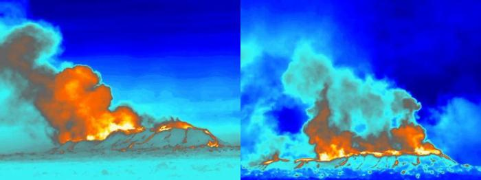 Thermal images (FLIR) of the craters, seen from the west (hence N to the left and S to the right). The image on the left was taken on 18 November 2014 at 16:00. Thermal convection is greatest from the northern part, Heimasæta, and the temperature is somewhere in the range 1147-1188°C. The image on the right was taken 23 October 2014 when craters Baugur and Heimasæta were both active. (IMO & Institute of Earth Sciences, information from the field group.)