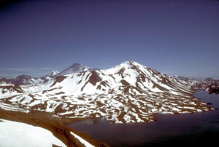Emmons Lake and Mount Emmons, Alaska.  Photo courtesy AVO, July 1987