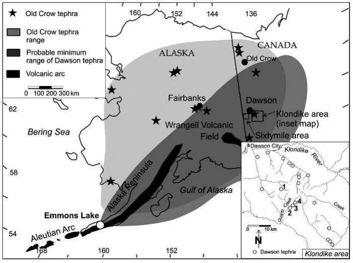 Map of Dawson tephra distribution, from Froese & Westgate et all, 2002,