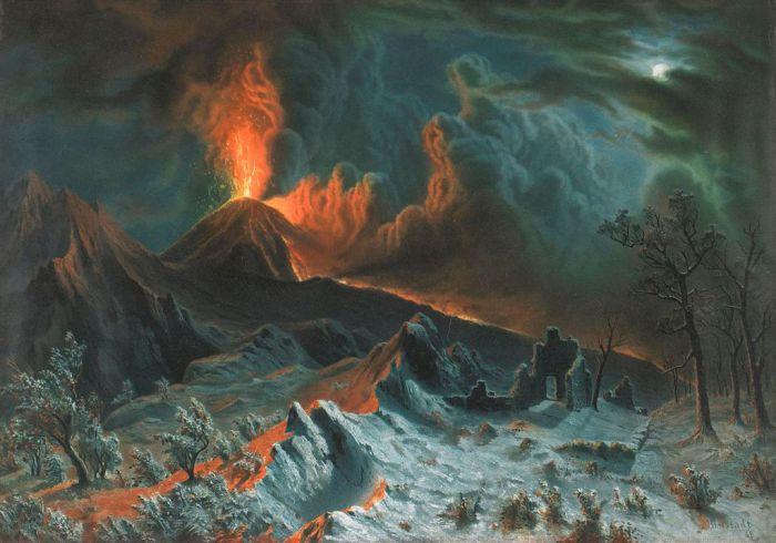 Mount Vesuvius at Midnight. Albert Bierstadt. 1869.