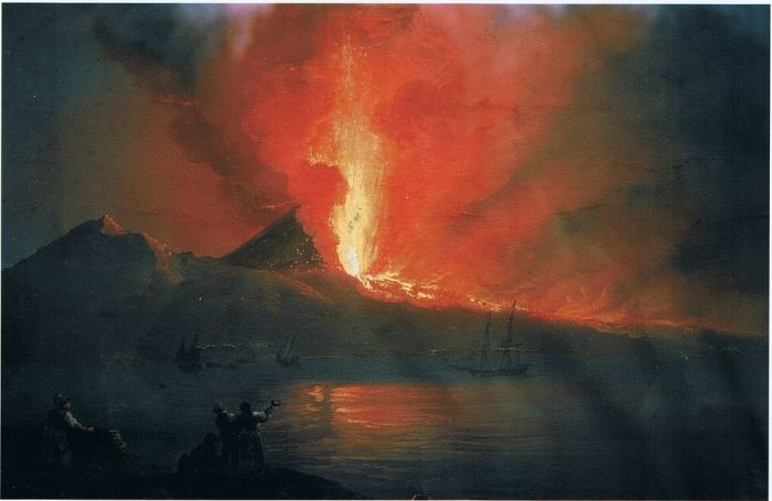 Painting of Mount Vesuvius Erupting in 1812 as Seen from the Ponte del Maddalena. Unknown Artist.