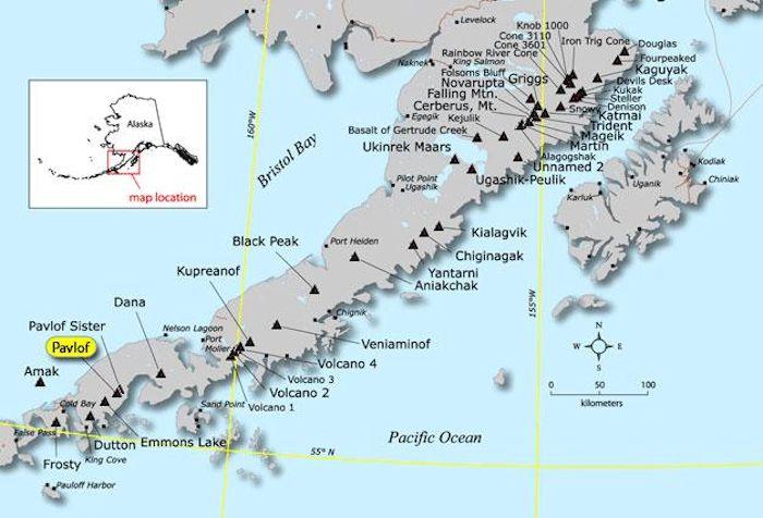 Map of Location of Pavlof Volcano