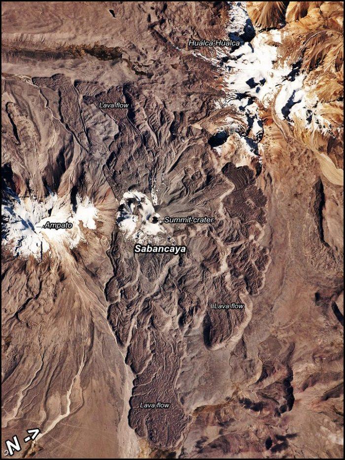Image NASA. Lava flows around Sabancaya.