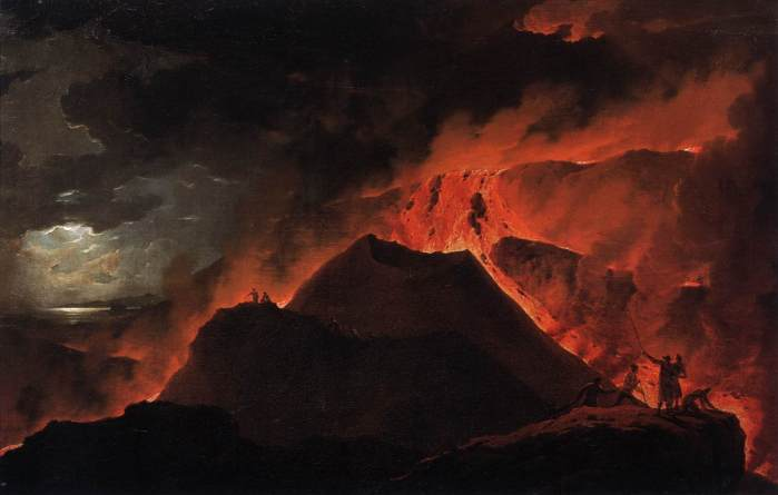 The Summit of Vesuvius Erupting by Micheal Wutky 1779