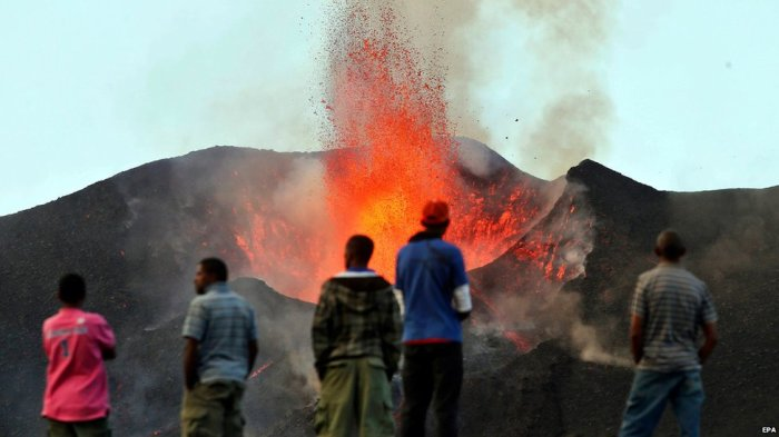 Some people ventured closer to get a better view of the rare eruption. Photo: BBC