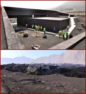 Before.... and after. The newly built visitor center of the National Park has been completely destroyed (courtesy of Fogo News)