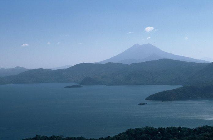 Lake Ilopango looking west toward San Salvador volcanic complex - http://www.tripomatic.com/El-Salvador/Lake-Ilopango/