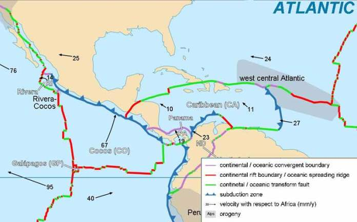 Plate Structure of Central America - http://ambergriscaye.com/forum/ubbthreads.php/topics/462172/Seismotectonics_of_the_Caribbe.html