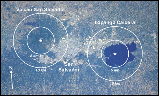 Ilopango, San Salvador and San Salvador Volcano from Space - http://www.geotimes.org/apr04/feature_VPI.html