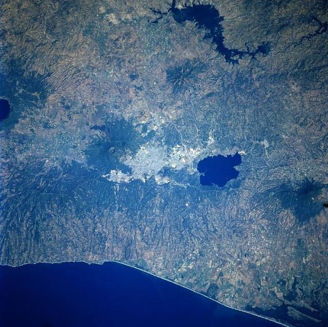 San Salvador city from space.  Ilopango is at right. San Salvador at center.  San Salvador volcanic complex to the left.  Loma Caldera is at far left.  - http://en.wikipedia.org/wiki/San_Salvador